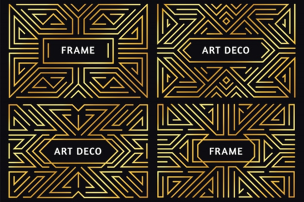 アールデコフレーム。ヴィンテージゴールデンライン境界線、装飾的な金の飾り、豪華な抽象的な幾何学的なフレームの境界線図