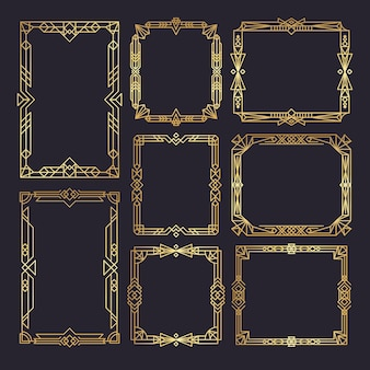 Art deco frames. wedding frames template 1920s decor style golden borders swirl vintage