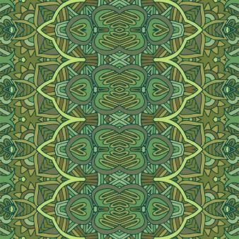 아트 데코 기하학적 원활한 벡터 패턴입니다. 금색과 녹색 공작 추상 깃털 텍스처입니다.