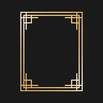 Золотые рамы и бордюры ар-деко. элементы дизайна гэтсби. винтаж линейная граница ..