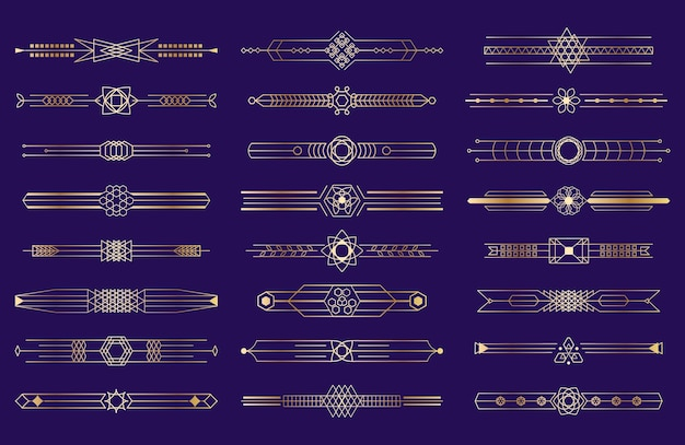 Art deco golden border illustration set