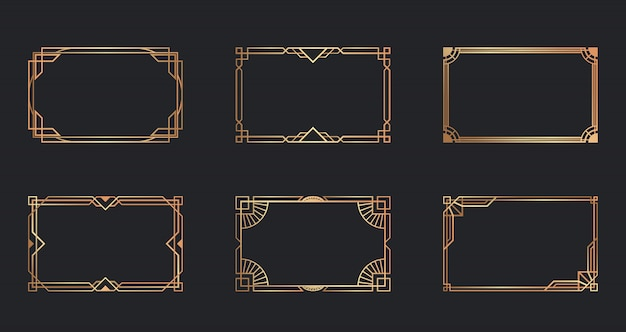 Art deco golden frames set