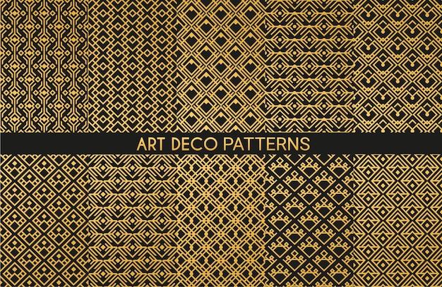 アールデコの黄金の装飾品のシームレスなパターン