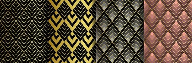 Арт деко золотые бесшовные шаблоны набор гэтсби роскошные ретро фоны