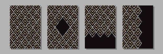 Набор шаблонов а4 с золотыми пайетками в стиле ар-деко роскошные ретро обложки гэтсби