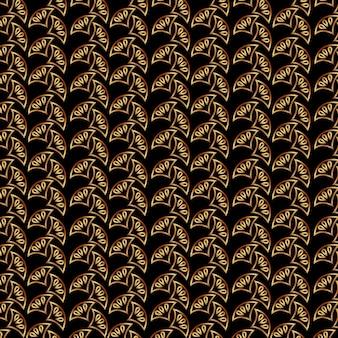 アールデコ金色のビクトリア朝の抽象的な装飾のパターン