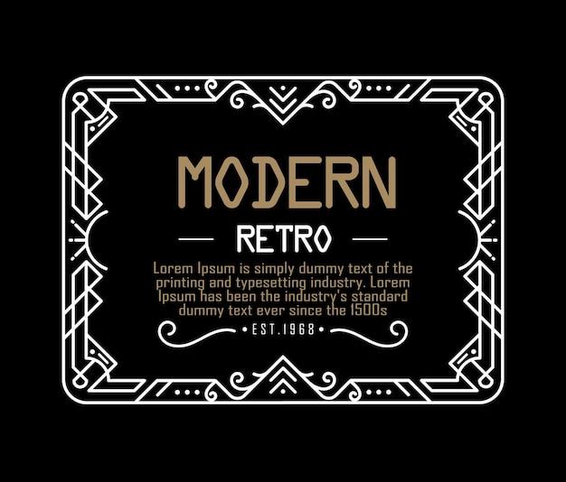 Art deco label vintage linear thin line geometric shape retro frame badge