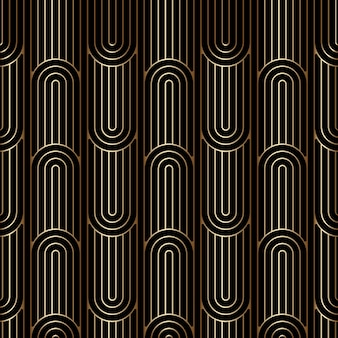 Art deco linear pattern, seamless golden background