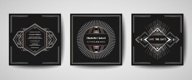 Роскошная свадьба в стиле ар-деко save the date, коллекция пригласительных билетов с золотыми геометрическими рамками. вектор модная обложка, графический плакат, брошюра гэтсби 1920, шаблон оформления