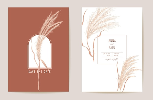 Art deco modern wedding invitation pampas grass card. autumn boho watercolor template vector. save the date golden foliage minimal poster, trendy design, luxury background, floral illustration
