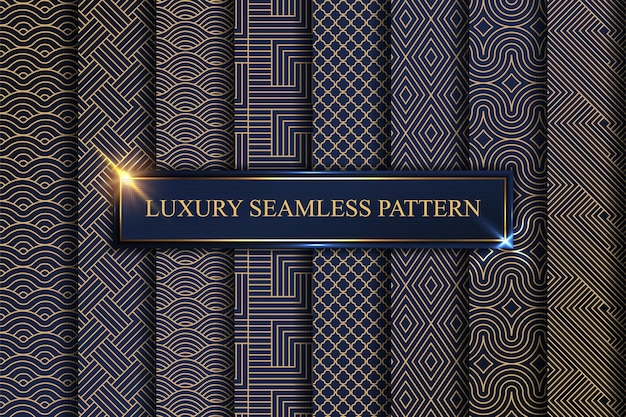 아트 데코 패턴. 황금 미니멀리즘 라인, 빈티지 기하학적 예술과 데코 라인 화려한 원활한 패턴 세트