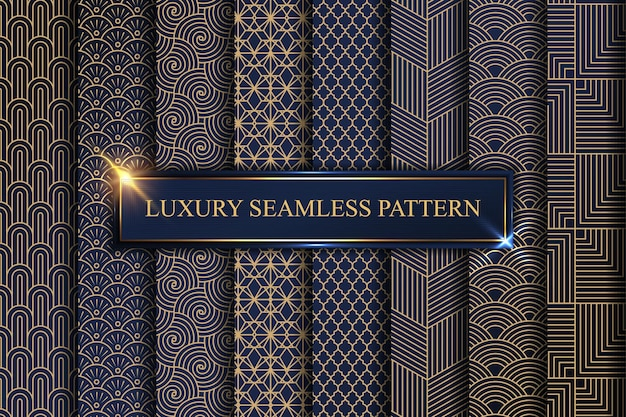 Art deco pattern. golden minimalism lines, vintage geometric arts and deco line ornate seamless patterns set