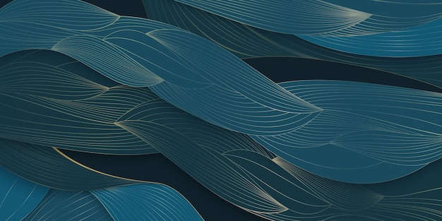 아트 데코 패턴 질감 잎 추상 자연 푸른 잎 손으로 황금 선으로 그린