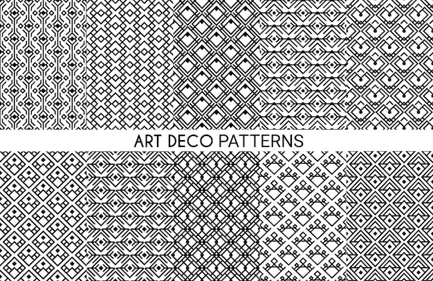 Узоры в стиле ар-деко. бесшовный орнамент, декоративный геометрический викторианский стиль, элегантный монохромный винтажный дизайн