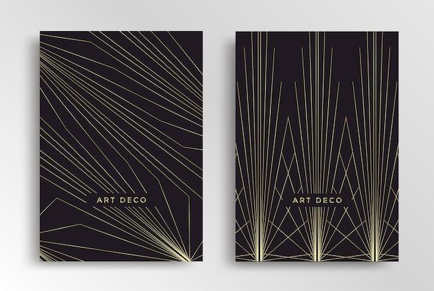 Шаблон оформления плаката в стиле ар-деко. обложка геометрической ретро золотой линии в стиле 30-х годов. векторная иллюстрация