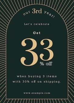 Art deco poster template for anniversary sale ad