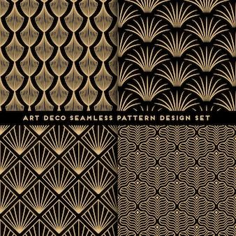 Art deco seamless pattern design set