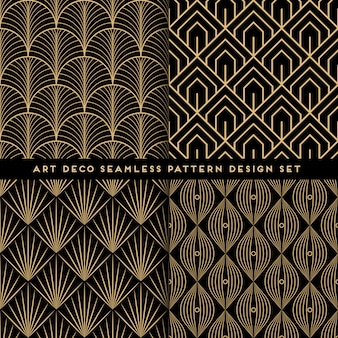 Art deco seamless pattern design set
