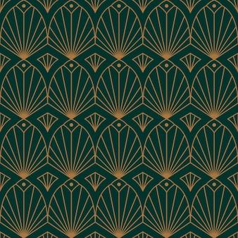 トレンディなミニマルスタイルのアールデコ調のシームレスパターン。金色の線で抽象的な幾何学的な背景をベクトルします。包装、布地印刷、ブランディング、壁紙、カバー用