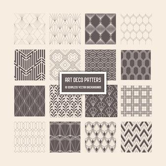 アールデコのシームレスなパターン、デザイン、カバー、テキスタイル、ベクトルの装飾のための16の幾何学的な背景