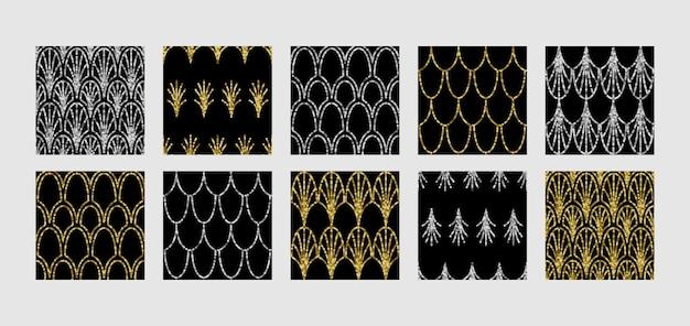 Набор бесшовных узоров в стиле ар-деко с блестками гэтсби повторяет фон для текстильных и интерьерных принтов