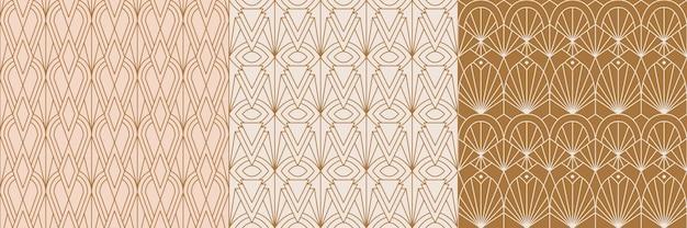최신 유행의 최소한의 선형 스타일로 설정된 아트 데코 원활한 패턴. 기하학적 형태와 벡터 추상 복고풍 배경입니다. 포장용, 직물인쇄용, 브랜딩용, 벽지용, 커버용 프리미엄 벡터