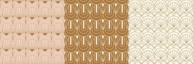 Бесшовные шаблоны ар-деко в модном минималистичном линейном стиле. вектор абстрактные ретро фоны с геометрическими формами. для упаковки, печати на ткани, брендинга, обоев, обложек