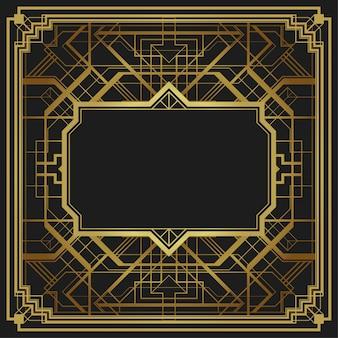 Art deco style geometric frame border design background