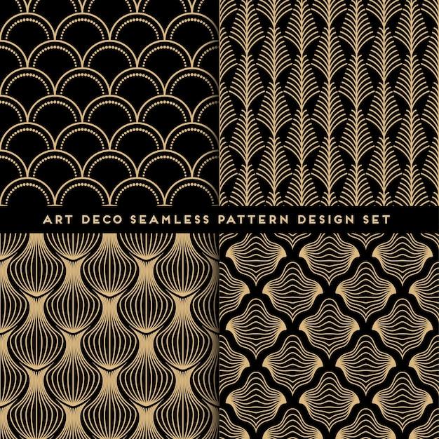 アールデコスタイルのシームレスなパターンデザインセット