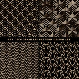 Art deco style seamless pattern design set