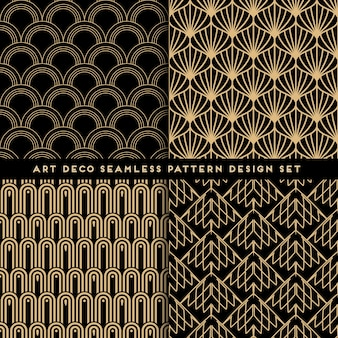 Art deco style seamless pattern design set