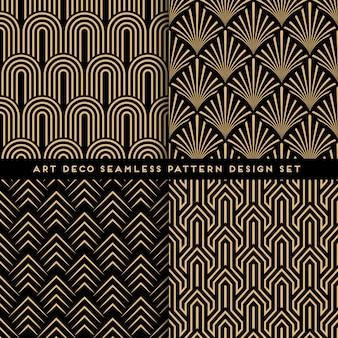 아트 데코 스타일 완벽 한 패턴 세트
