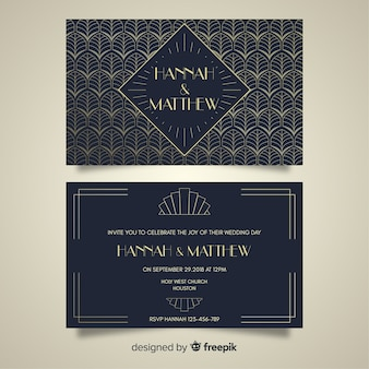 Art deco style wedding template