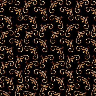 Art deco swirl golden floral decoration pattern