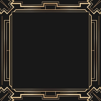 Art deco vector frame with diamond pattern on dark background