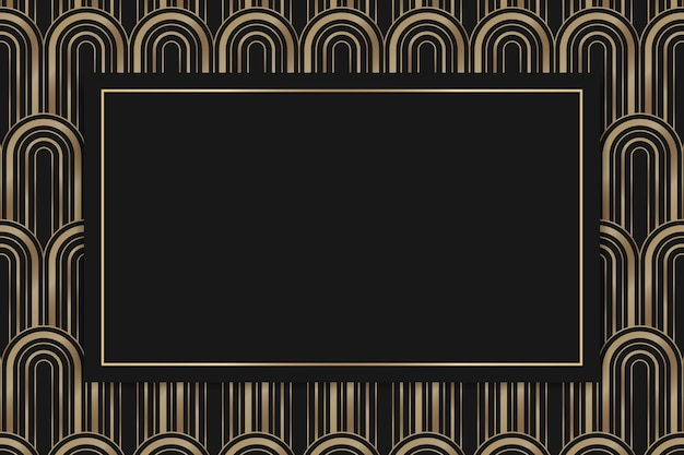 Art deco vector frame with geometric pattern on dark background