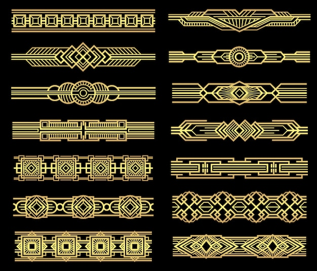 Art deco vector line borders set