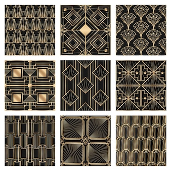 Art deco vector set frame with geometric patterns on dark background Free Vector