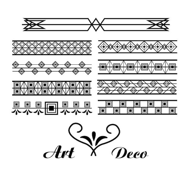 エレガントなモチーフのアールデコのビネットとボーダーの装飾