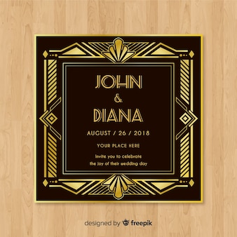 Art deco wedding invitation template concept with golden elements