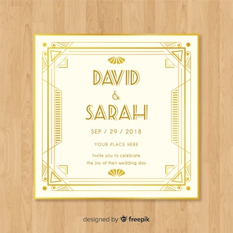 Disegno del modello di invito di matrimonio art deco con elementi dorati