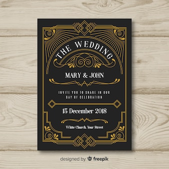 Art deco wedding invitation template design