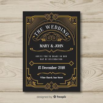 アールデコ結婚式招待状のテンプレートデザイン