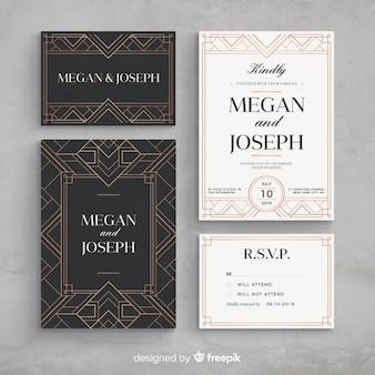 アールデコの結婚式の招待状のテンプレート