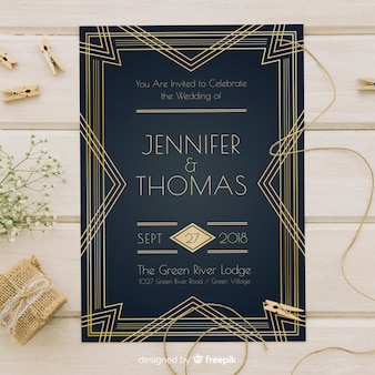 Art deco wedding invitation template