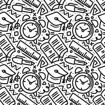 Art decoration of school time hand drawing with icons and design elements