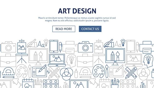 Художественный дизайн дизайн баннера. векторная иллюстрация набросков шаблона.