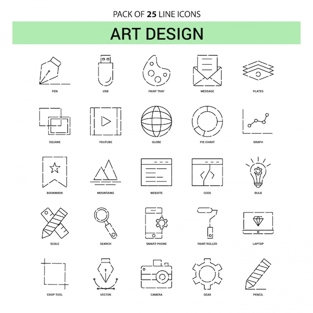 Art design line icon set - 25 dashed outline style