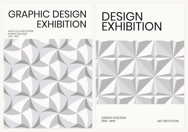 Art exhibition geometric template vector ad poster geometric modern style dual set