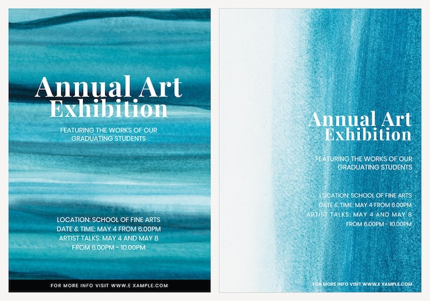 Art exhibition watercolor template vector aesthetic ad poster dual set
